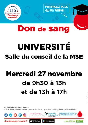 Don du sang, Mobilisez vous ! > Mercredi 27 novembre  2019 de 9h30 à 17h à la Maison des Services à l'Étudiant sur le campus Mont Houy