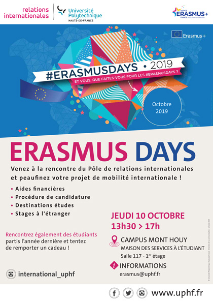[ERASMUS DAYS] Rencontrez le Pôle de Relations Internationales le jeudi 10 octobre après-midi !