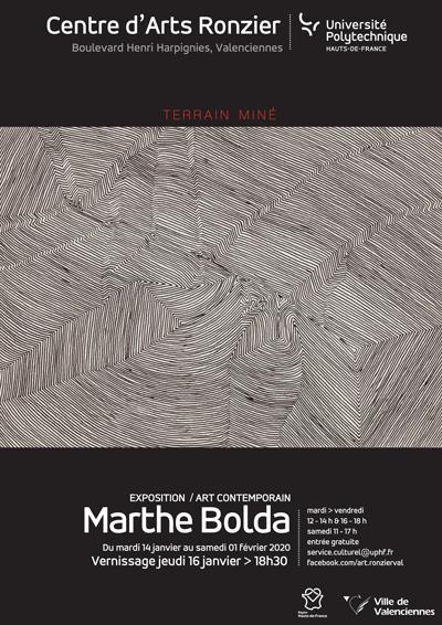 """[EXPO] """"Terrain miné"""" - Marthe BOLDA > du 14 janvier au 1er février 2020 - Centre d'Arts Ronzier"""