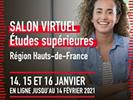 Salon virtuel des Etudes supérieures en Région Hauts-de-France ouvert les 14, 15 et 16 janvier 2021 pour 3 jours de temps forts et restera accessible jusqu'au 14 février 2021.